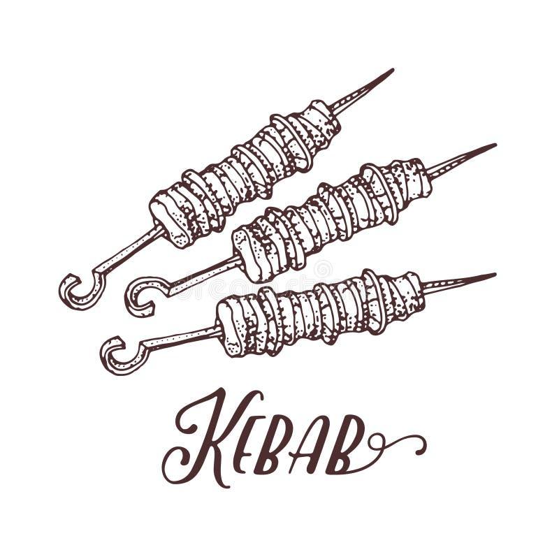Räcka den utdragna vektorillustrationen av kebaben på steknålar Meat på grilla stock illustrationer