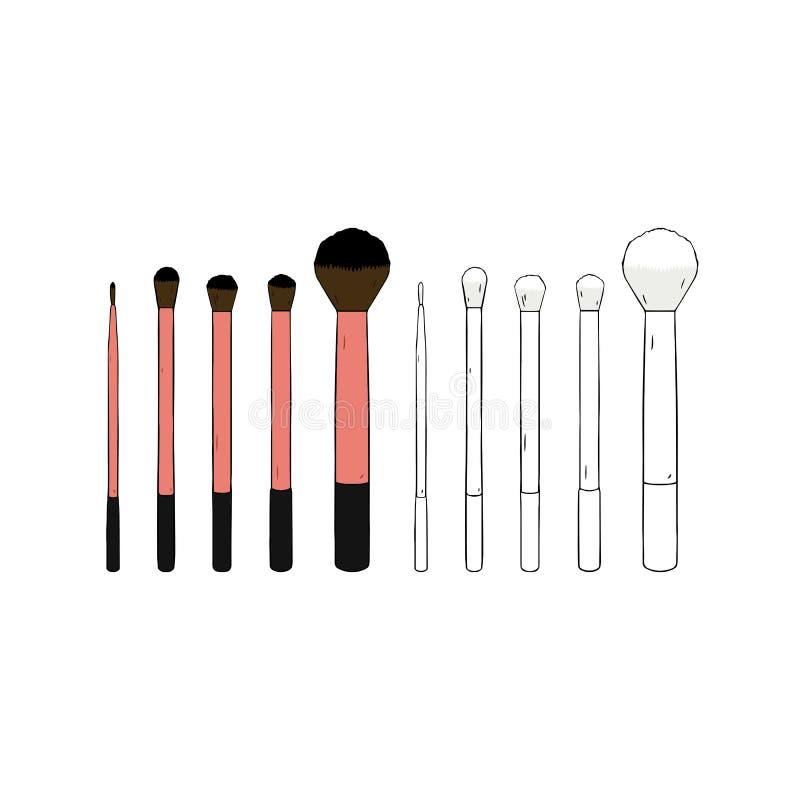 Räcka den utdragna vektorillustrationen av den kosmetiska makeupborsteuppsättningen på vit bakgrund stock illustrationer