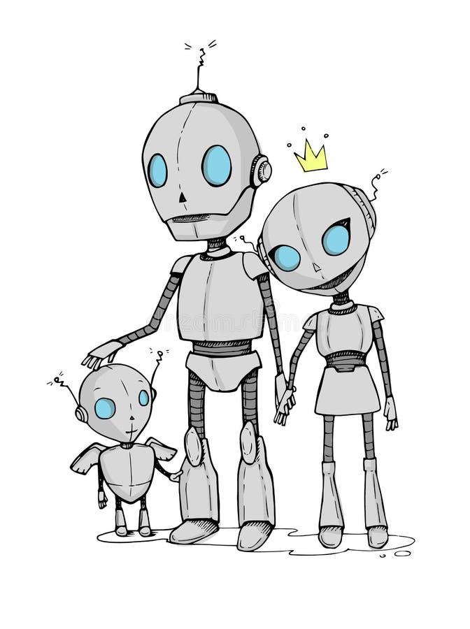 Räcka den utdragna vektorillustrationen - familj av robotar royaltyfri illustrationer