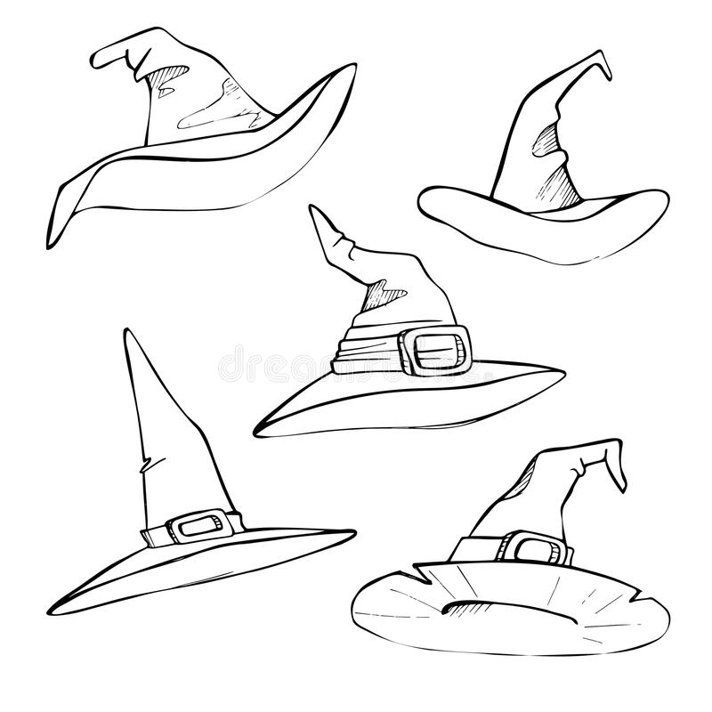 Räcka den utdragna vektorillustrationen - hattar för allhelgonaafton skissa stock illustrationer