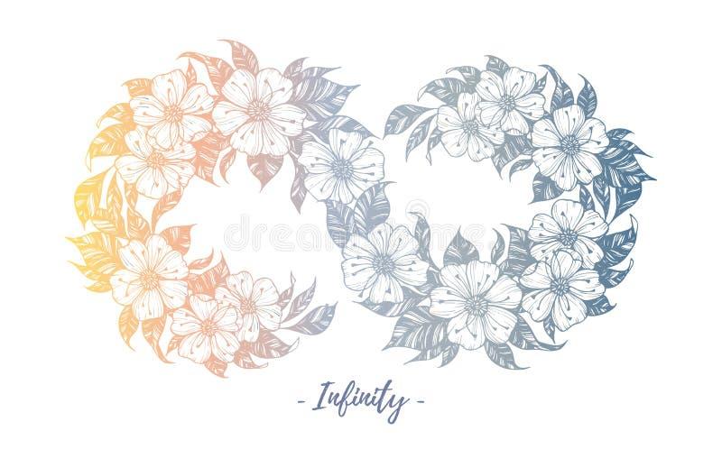 Räcka den utdragna vektorillustrationen - oändlighetstecken med blommor och stock illustrationer