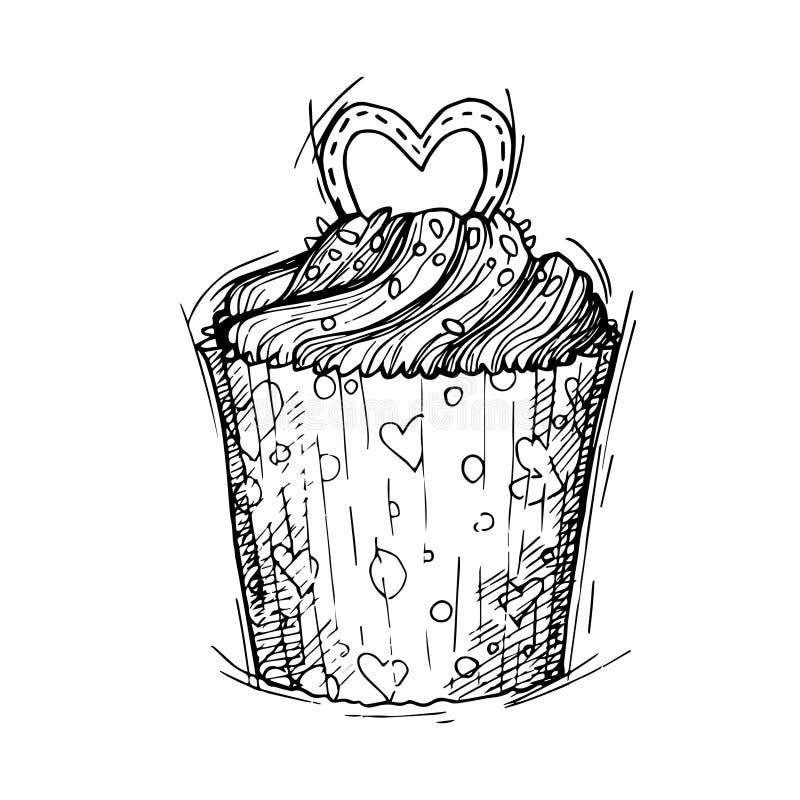 Räcka den utdragna vektorillustrationen - söt muffin med förälskelse St Va royaltyfri illustrationer