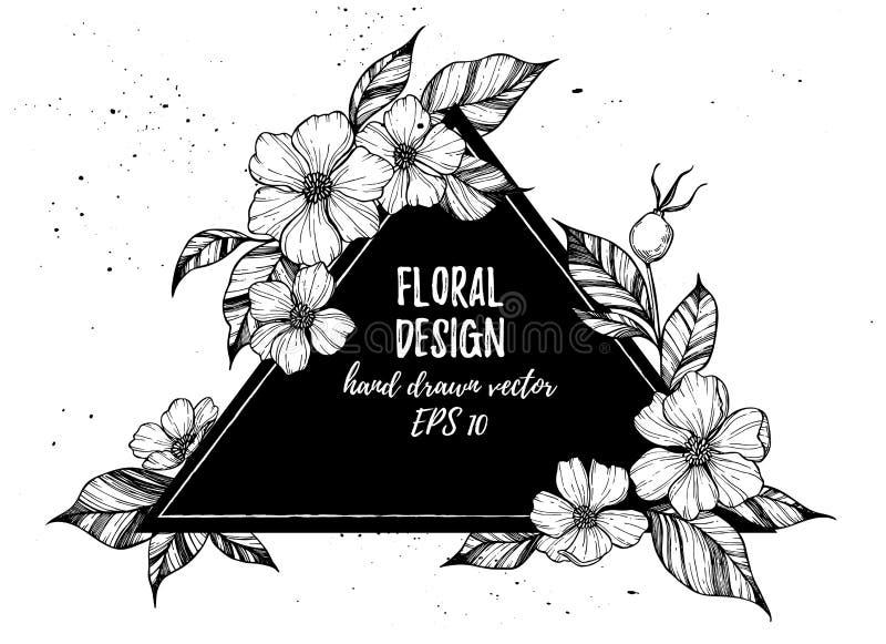Räcka den utdragna vektorillustrationen - triangel med blommor och lämna vektor illustrationer