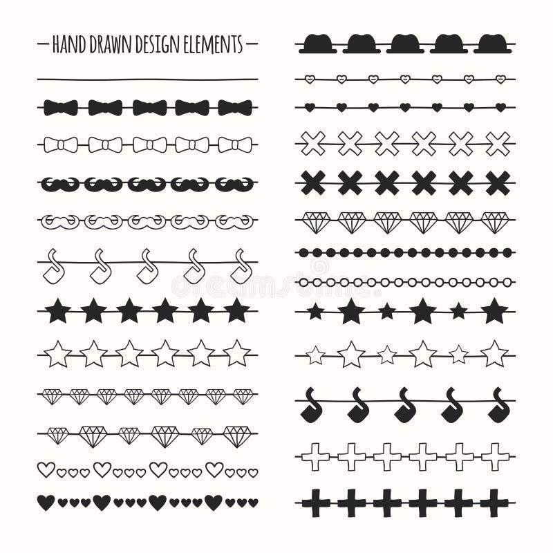 Räcka den utdragna vektorlinjen gränsuppsättning och klottra royaltyfri illustrationer