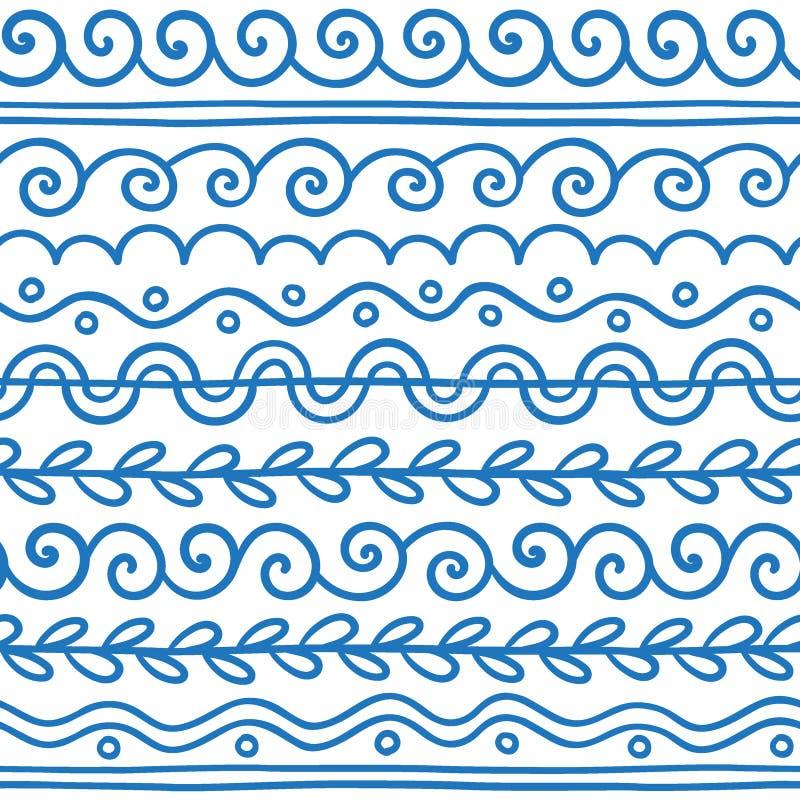 Räcka den utdragna vektorlinjen gränsuppsättning och klottra designbeståndsdelen stock illustrationer