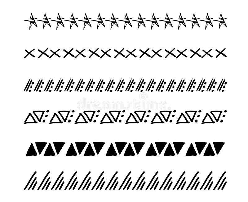 Räcka den utdragna vektorlinjen gränsuppsättning och klottra designbeståndsdelen Geometrisk tappningmodemodell illustration royaltyfri illustrationer