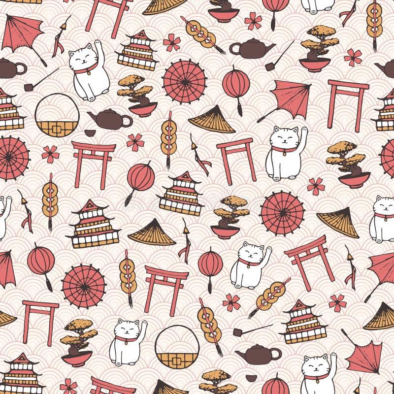 Räcka den utdragna vektorn den asiatiska sömlösa modellen med paraplyer, japanes royaltyfri illustrationer