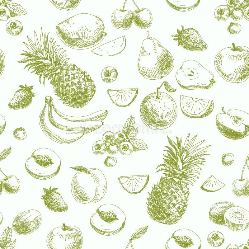 Räcka den utdragna vektorn den sömlösa modellen med frukter och royaltyfri illustrationer