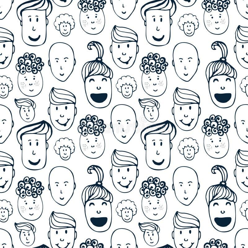 Räcka den utdragna vektorn den sömlösa modellen med illustrationen av gruppen av män och kvinnor Folkmassa av rolig folkbakgrund royaltyfri illustrationer