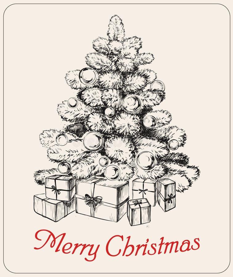 Räcka den utdragna vektorn för trädet för jul för vektorn för julträdet vektor illustrationer
