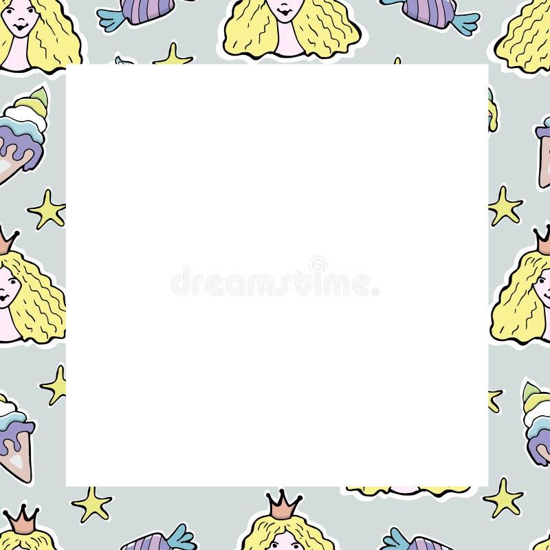 Räcka den utdragna vektorn den gulliga prinsessan, koppkakor, godisen, glass, st vektor illustrationer