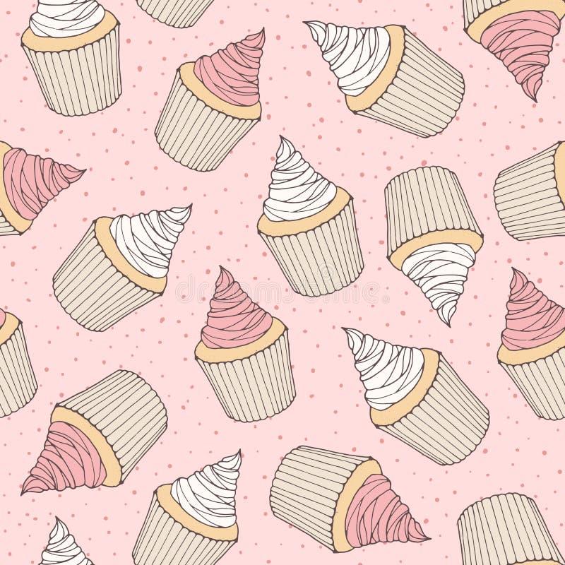 Räcka den utdragna vektorn den sömlösa modellen med muffin- och muffinintelligens stock illustrationer