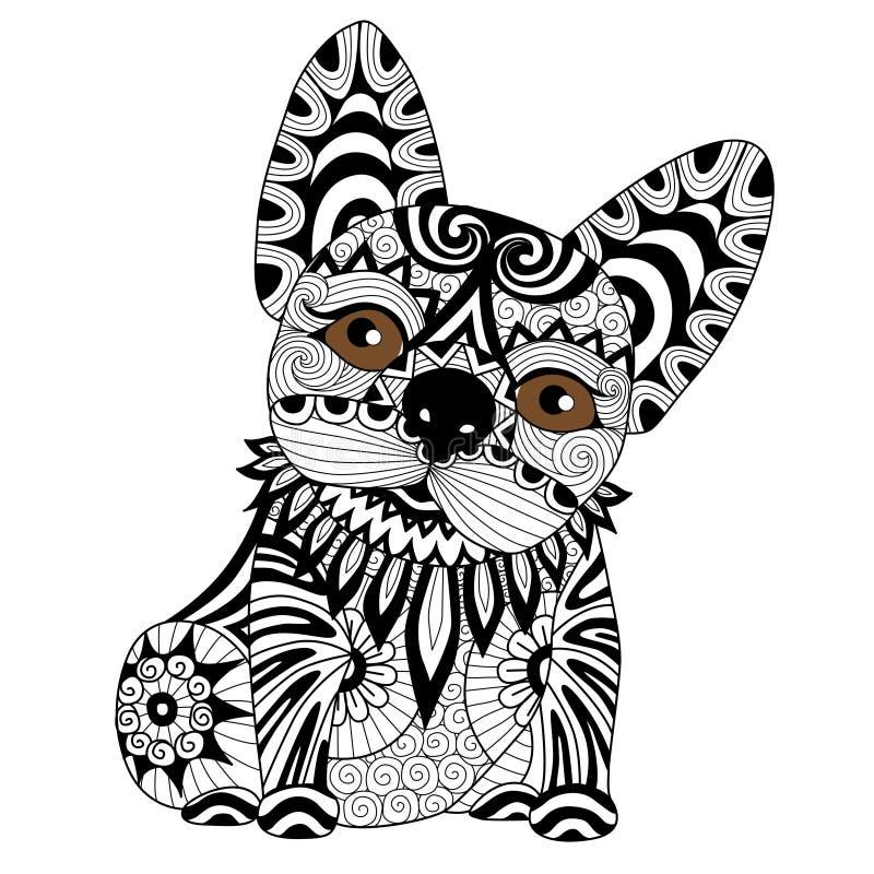 Räcka den utdragna zentanglebulldoggvalpen för att färga sidan vektor illustrationer