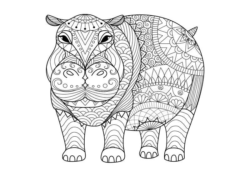Räcka den utdragna zentangleflodhästen för färgläggningboken för vuxen människa, tatuering, skjortadesign och andra garneringar