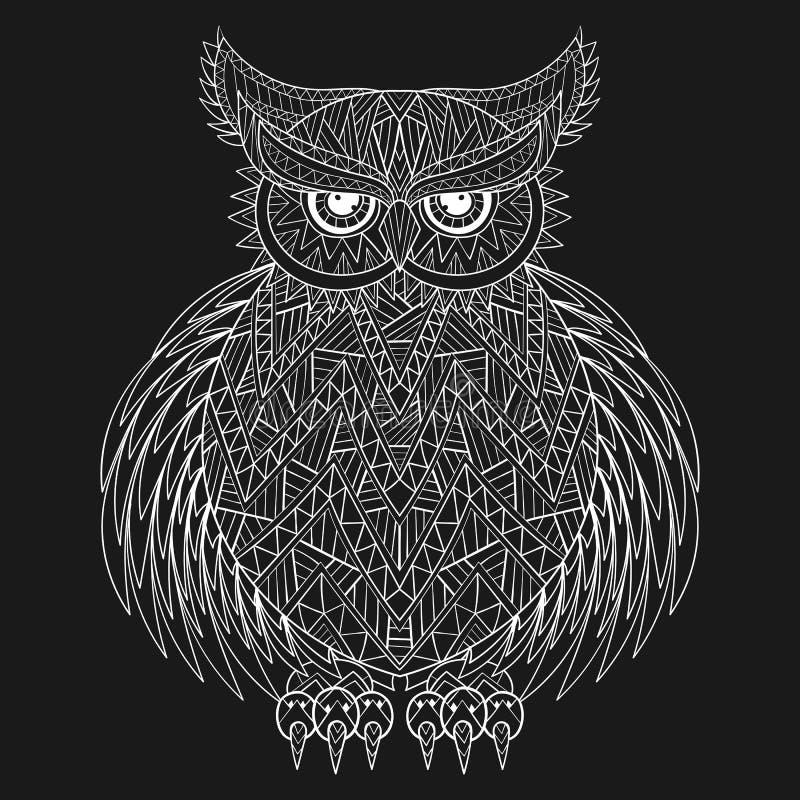 Räcka den utdragna zentangleugglan, fågeltotemet för vuxen färgläggningsida in stock illustrationer