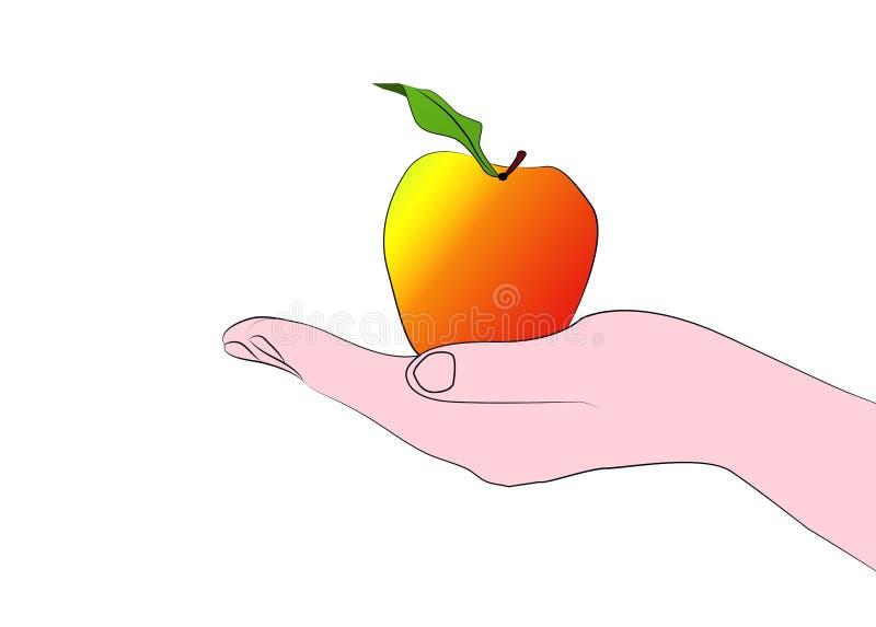 Räcka det hållande äpplet fotografering för bildbyråer