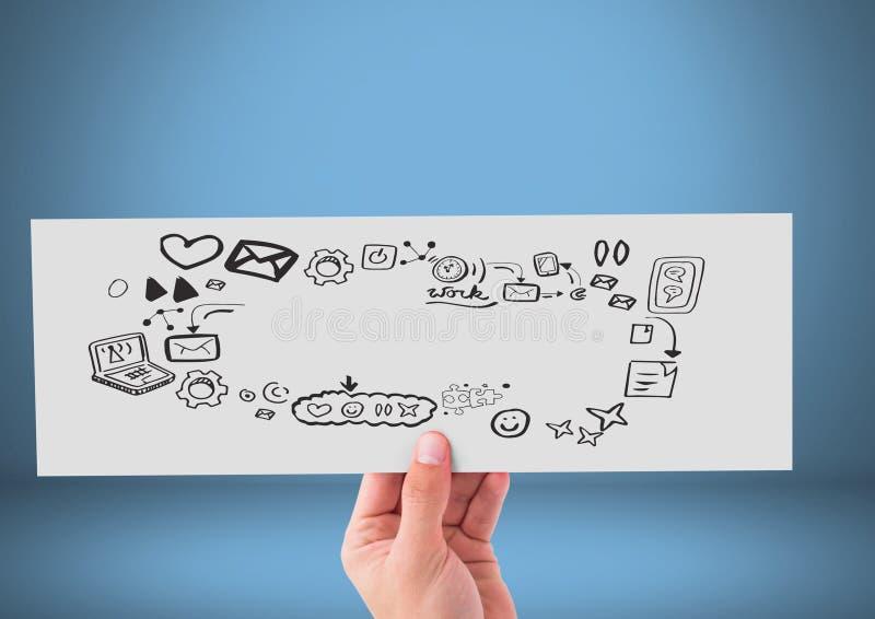 Räcka det hållande kortet med teckningar för telefon- och samkvämmassmediadiagram stock illustrationer
