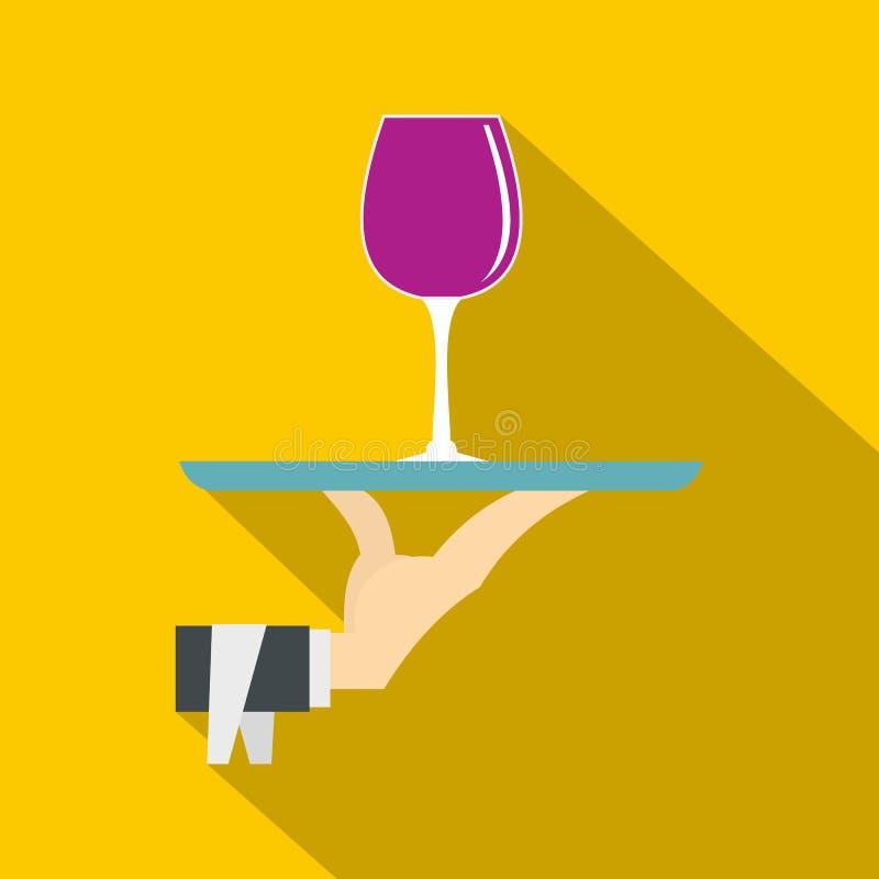 Räcka det hållande magasinet med ett exponeringsglas av rött vinsymbolen royaltyfri illustrationer