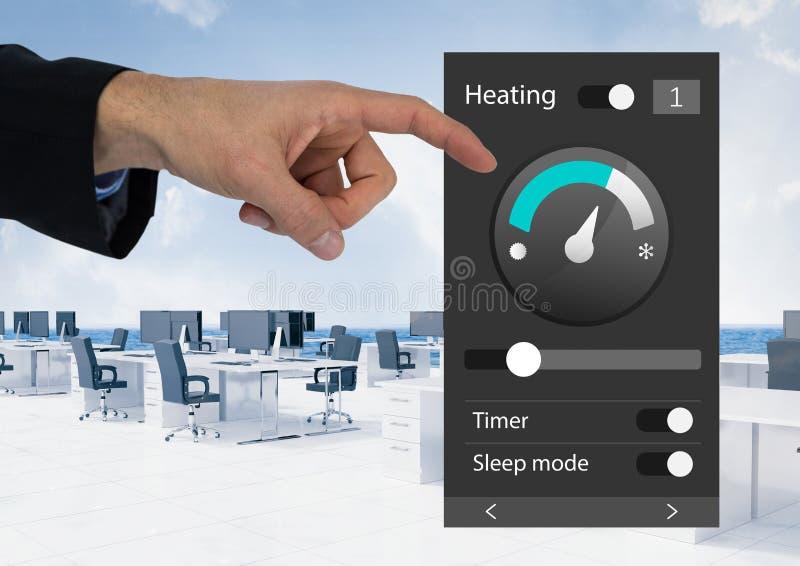 Räcka det rörande systemet för kontorsautomation som värmer App-manöverenheten royaltyfri bild