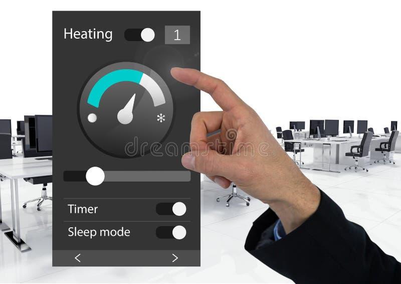 Räcka det rörande systemet för kontorsautomation som värmer App-manöverenheten arkivbild