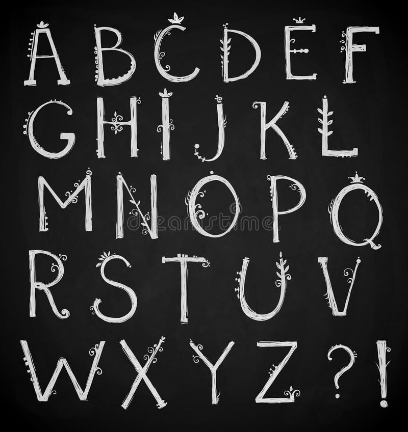 Räcka det utdragna alfabetet, klotterstilsorten, vektor stock illustrationer