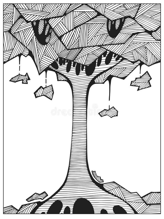 Räcka det utdragna färglösa abstrakta trädet på kullelinjen konst för vuxen färgläggningbok royaltyfri illustrationer