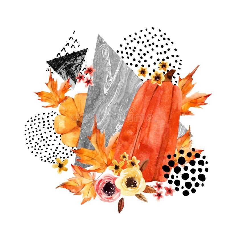 Räcka det utdragna fallande bladet, klottret, vattenfärg, klottra texturer för nedgångdesign stock illustrationer