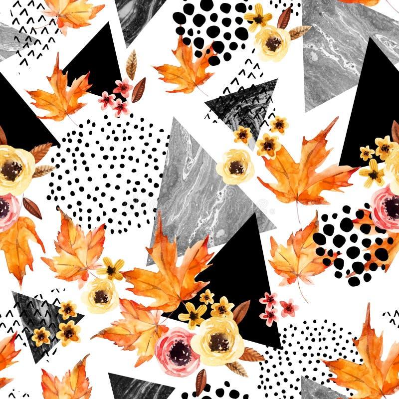 Räcka det utdragna fallande bladet, klottret, vattenfärg, klottra texturer för nedgångdesign royaltyfri illustrationer