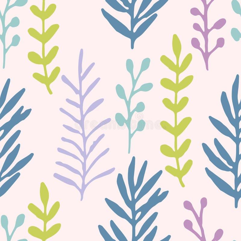 Räcka det utdragna gräsfältet, filialpastellblått, gräsplan, den violetta sömlösa modellen yellow för modell för hjärta för blomm royaltyfri illustrationer