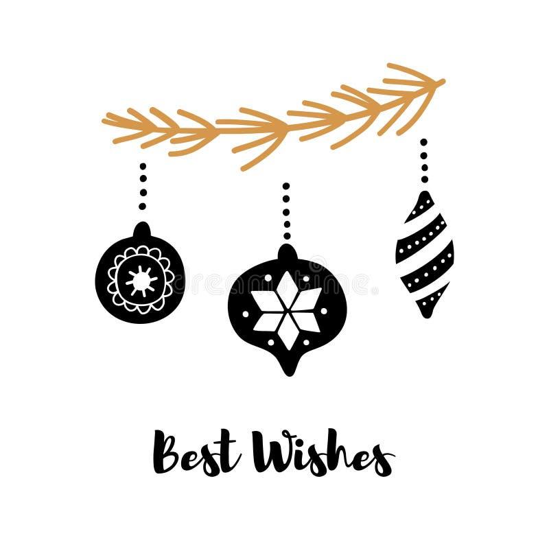 Räcka det utdragna hälsningkortet med inskriftgratulationer, för nytt år och jul royaltyfri illustrationer