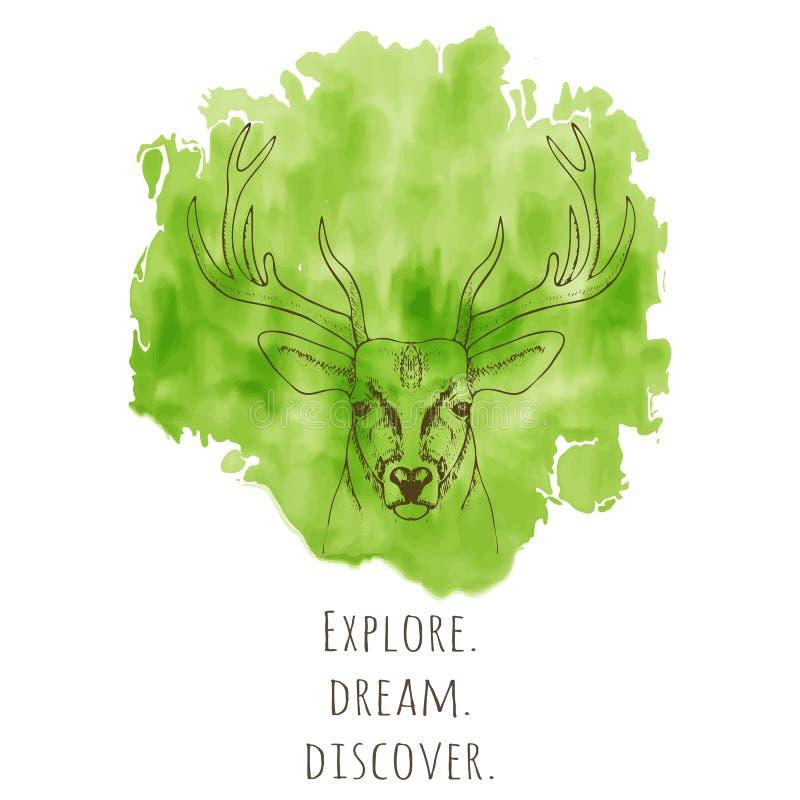 Räcka det utdragna hjorthuvudet med hornvektorillustrationen royaltyfri illustrationer