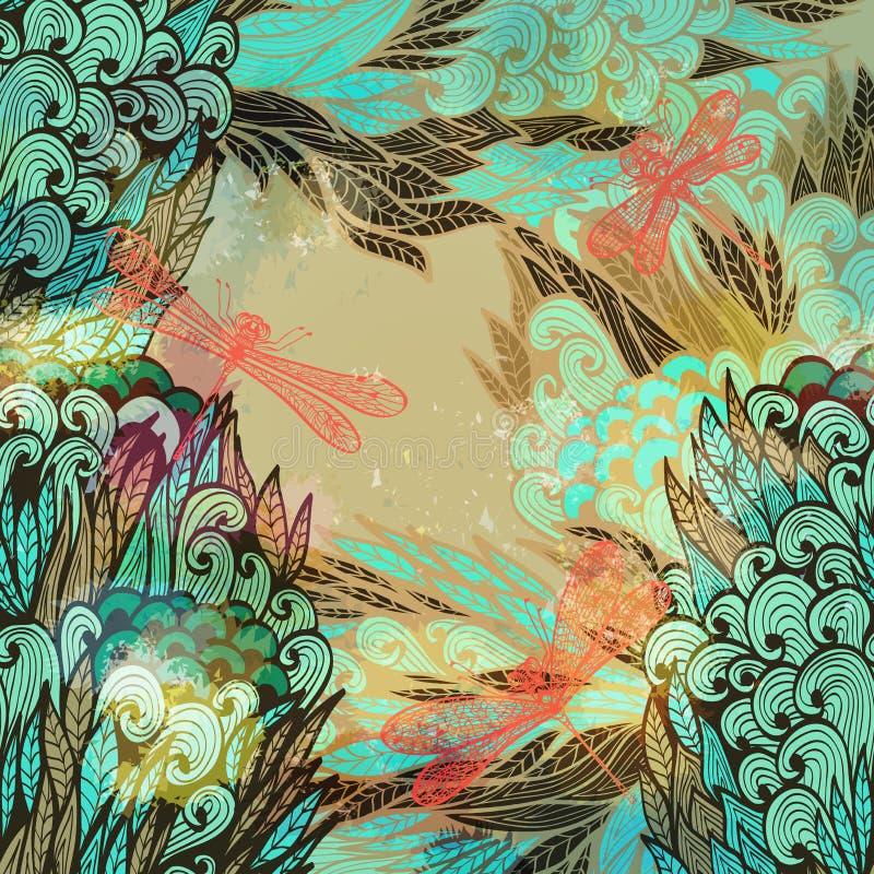 Räcka det utdragna inbjudankortet med blommor och sländor vektor illustrationer