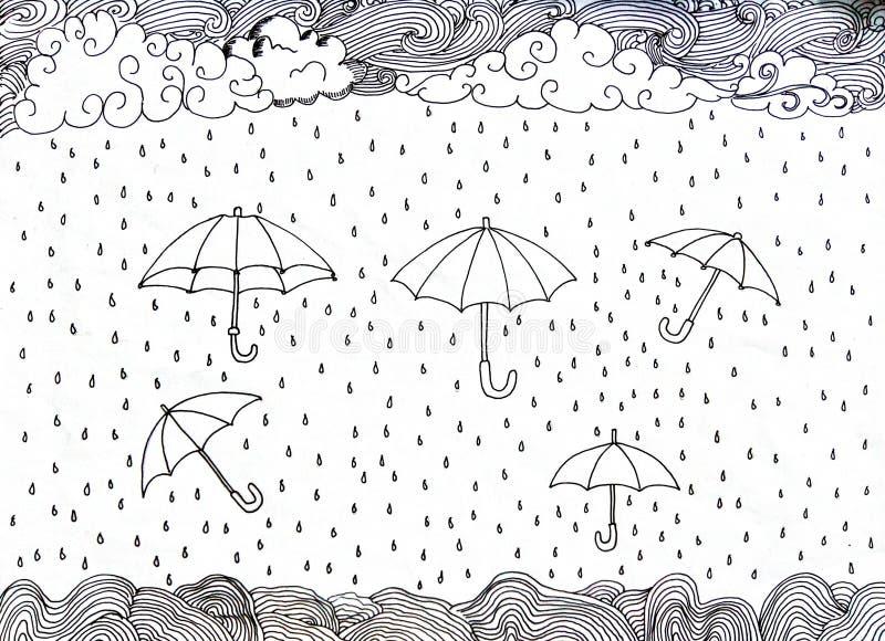 Räcka det utdragna klottret Paraply och regn royaltyfri illustrationer