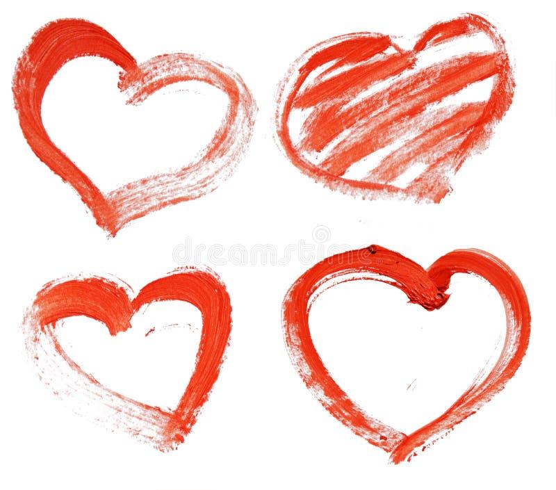 Räcka-dragen målad röd hjärta royaltyfri illustrationer
