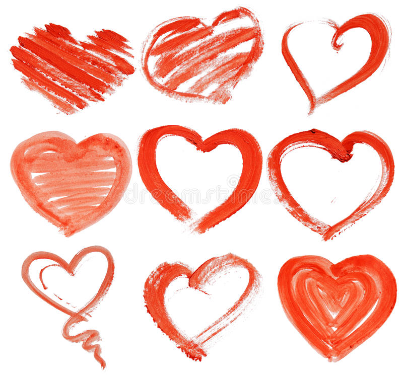 Räcka-dragen målad röd hjärta stock illustrationer