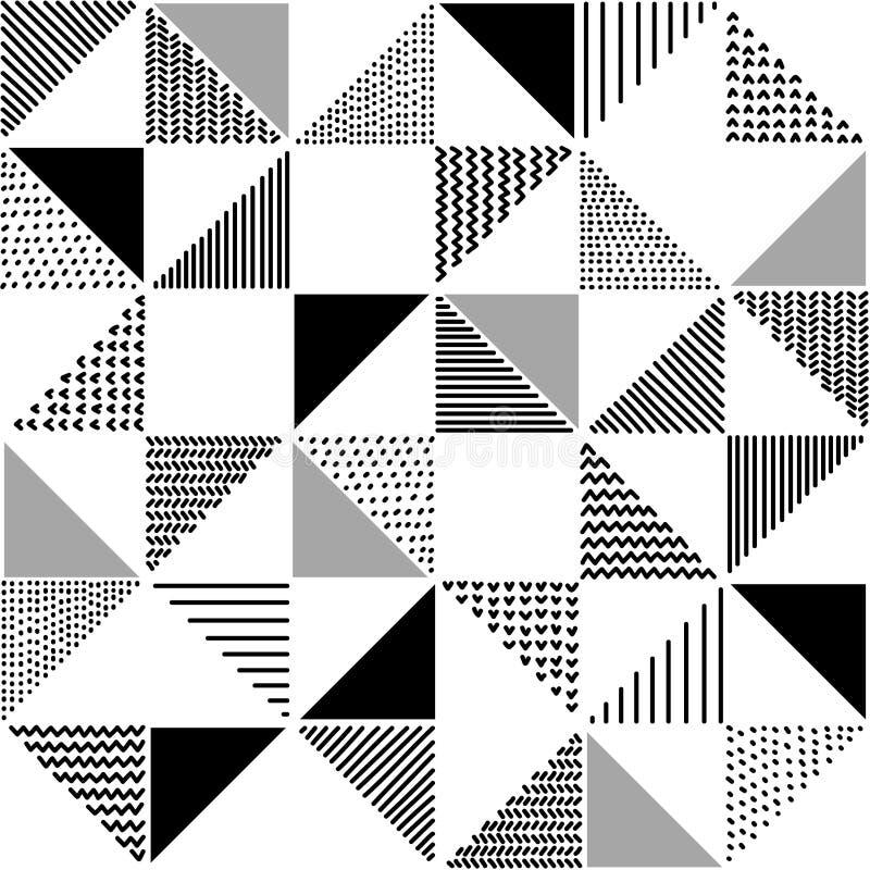 Räcka drog mönstrade trianglar den geometriska sömlösa modellen i svartvitt, vektor royaltyfri illustrationer