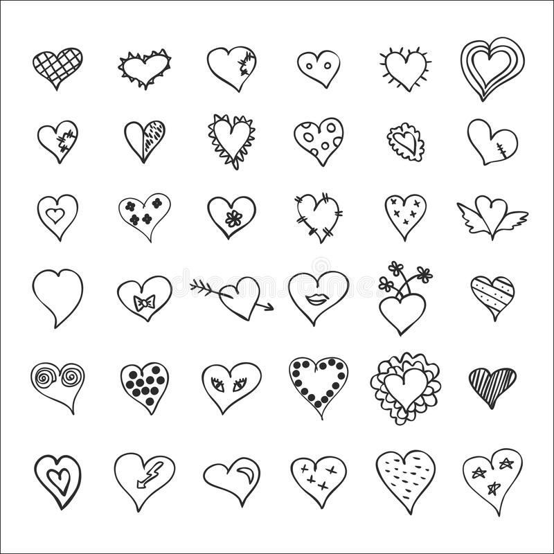 Räcka fastställda utdragna hjärtor stock illustrationer