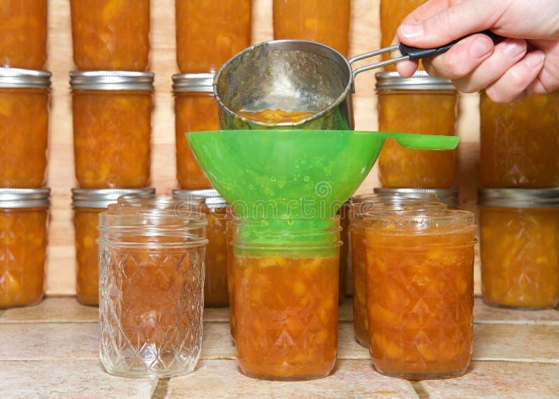 Räcka hällande varmt persikadriftstopp in i krus royaltyfri foto