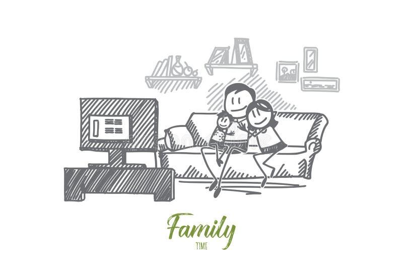 Räcka hållande ögonen på TV för den utdragna familjen på soffan tillsammans vektor illustrationer