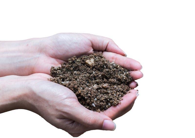 Räcka hållande jord, handen som är smutsig med jord royaltyfri bild