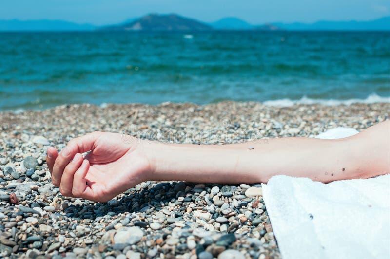 Räcka hållande kiselstenar på en strand, turkoshavsvatten i baksidan arkivfoton