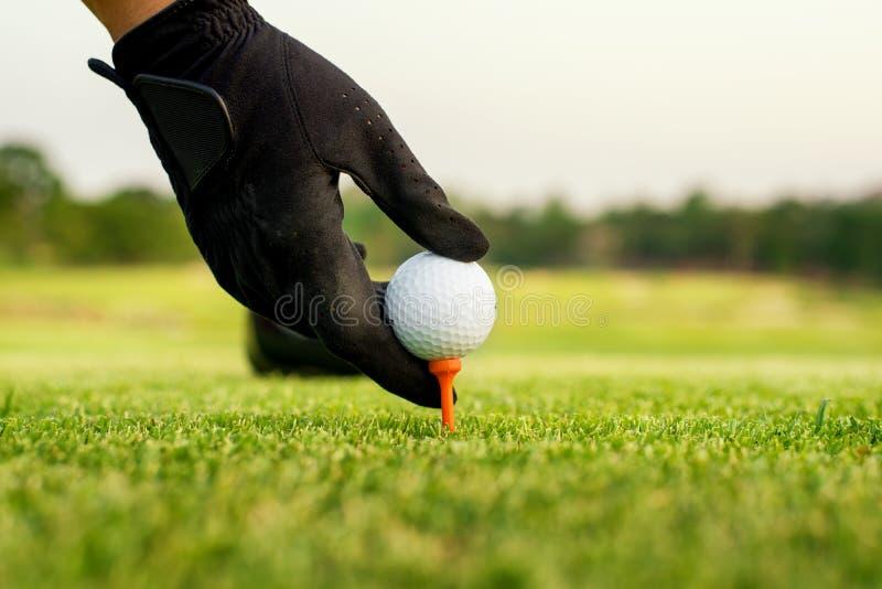 Räcka hållgolfboll med utslagsplatsen på kursen, närbild fotografering för bildbyråer