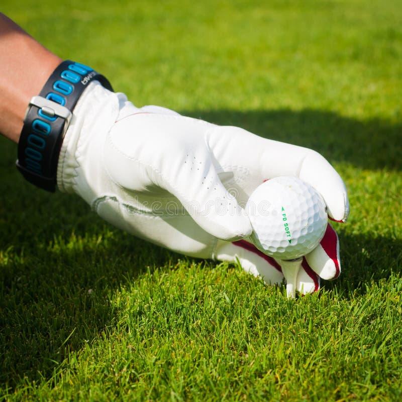 Räcka hållgolfboll med utslagsplatsen på kursen, slut upp royaltyfri foto
