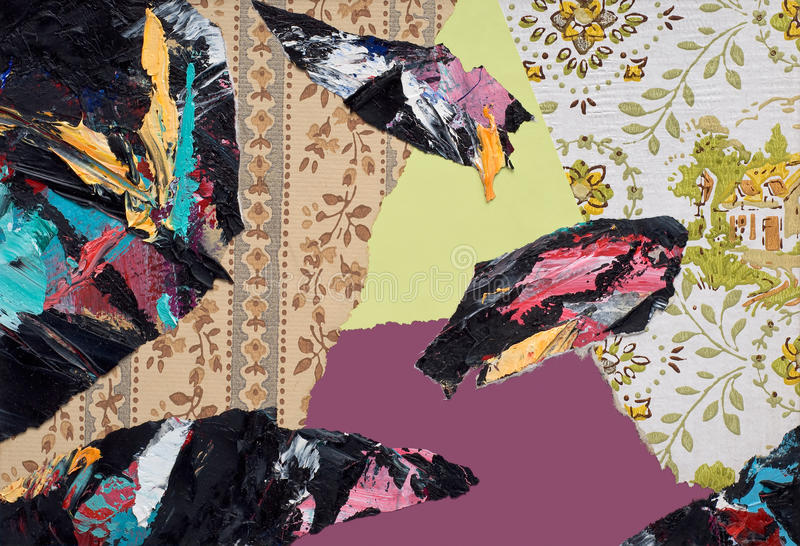 Räcka målad pappers- Collage vektor illustrationer