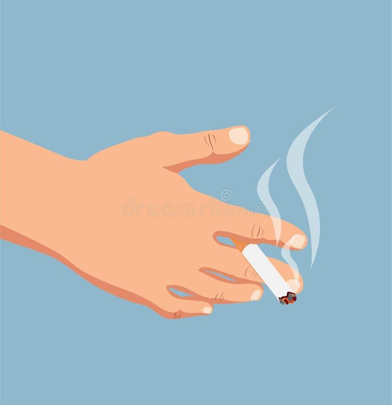 Räcka med cigaretten royaltyfri illustrationer