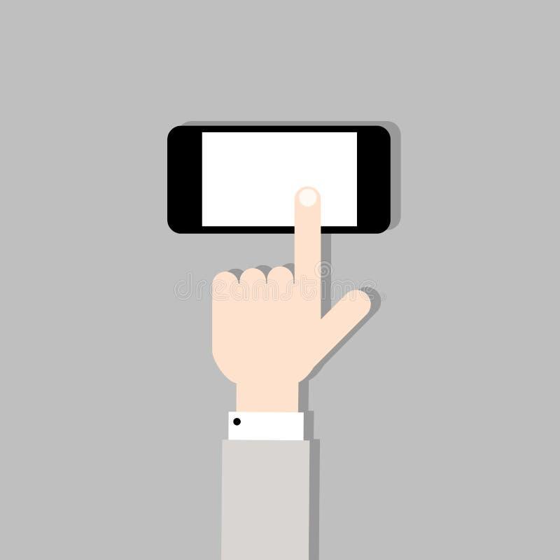 Räcka med mobil ringer stock illustrationer
