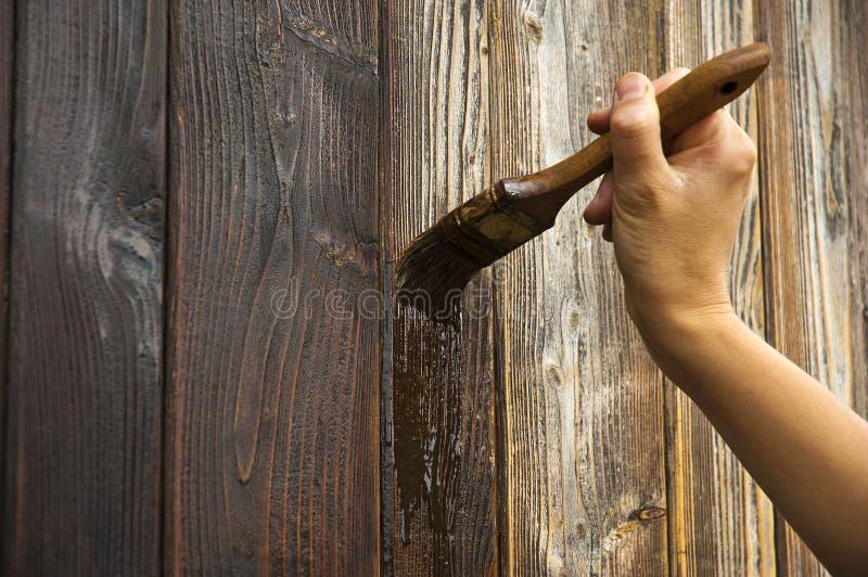 Räcka med paintbrushen på trä royaltyfria bilder