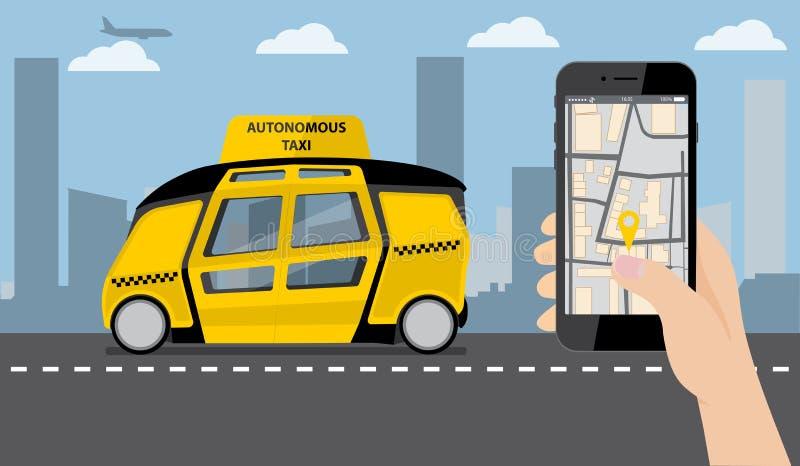 Räcka med ringer På apparatskärmapplikationen för att beställa en taxi vektor illustrationer