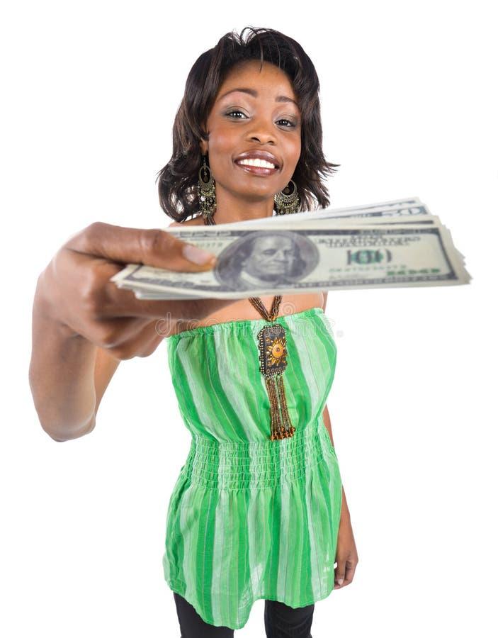 räcka pengar royaltyfri fotografi