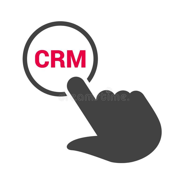 Räcka pressar knappen med text`-CRM `, vektor illustrationer